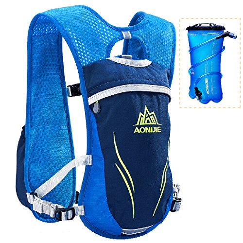 Azarxis Running Hydration Vest Backpack Pack Ultra Trail Race Chaleco Hidratacion 5.5L for Men Women Marathon Cycling (Blue - with a TPU Water Bladder (2L))