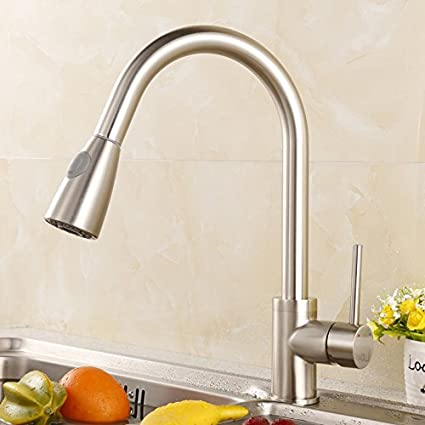 Luxice Modern Stainless Steel Single Handle Pull Down Spray Kitchen ...