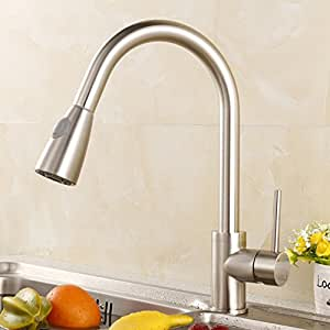 Single Handle Touchless Kitchen Faucet High Arc Brushed Nickel Plating Dual Sensor Kitchen Faucet Luxice Kitchen Faucet,KF813SS Pull Down Kitchen Sink Faucet with 3 Modes Pull Out Sprayer