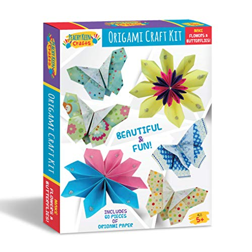 (Peachy Keen Crafts Beginners Origami Paper Craft Kit for Kids - 60 Papers - Create DIY Butterflies and)