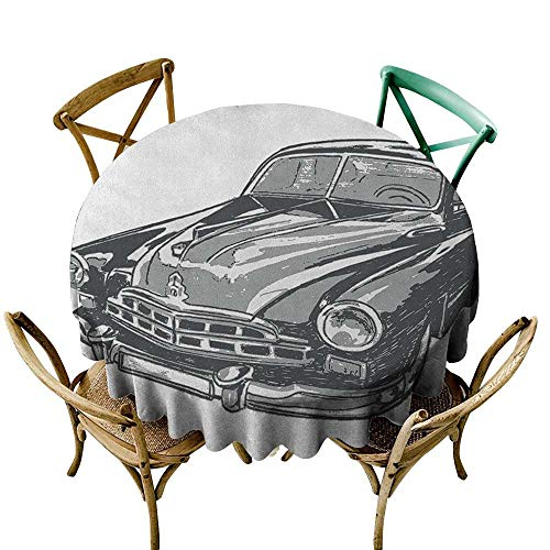 - Wendell Joshua Mermaid Tablecloth 70 inch Cars,Hand Drawn Vintage Vehicle with Detailed Front Part Hood Lamps Rear View Mirror, Grey Blue Grey Polyester Fabric Table Cloth