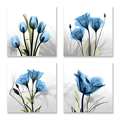 - Flower Painting Modern Abstract Blue Tulip Artwork Vivid Floral Canvas Print Picture in 4 Panels for Wall Art