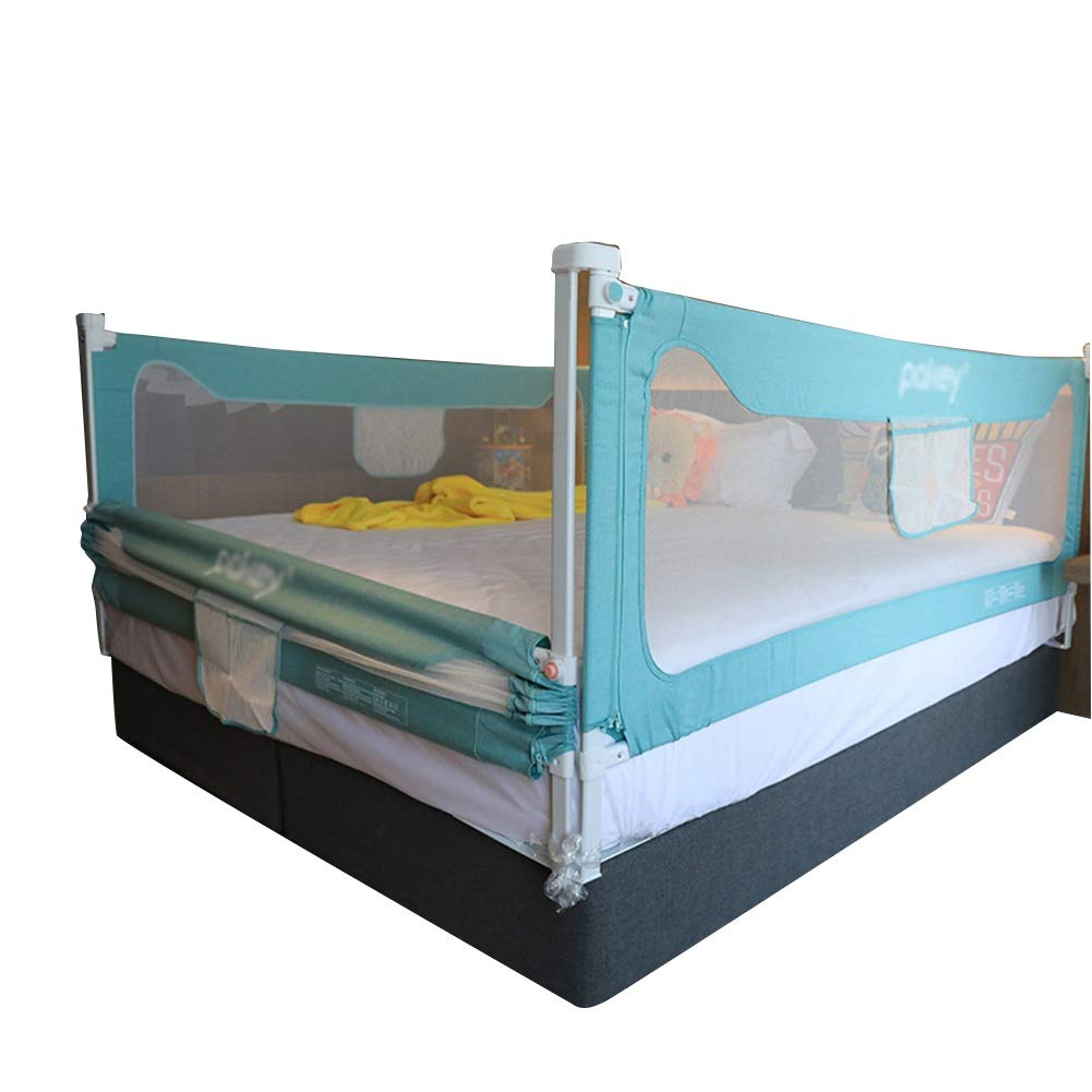QIANDA Bed Rail Beds Guard Adjustable with Ventilated Mesh Extra Long Safety Baby Protection, 3 Colors (Color : Green, Size : 2m+2m+2m)