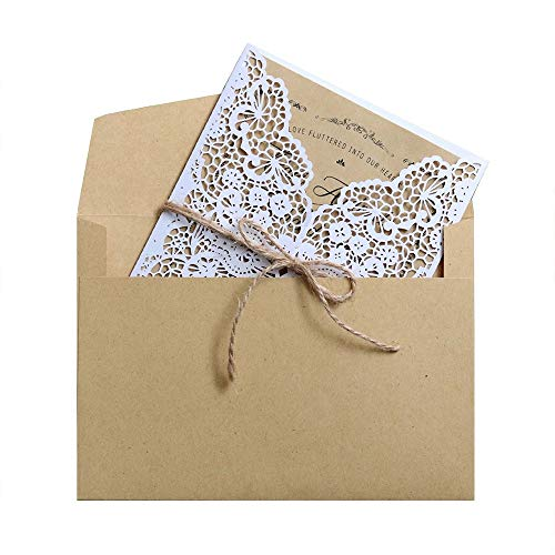 20 Pieces Wedding Invitations Cards Laser Cut Handmade White Kit with Envelopes Brown Kraft Card Inserts for Marriage Engagement Wedding Baby Shower Birthday Party Supplies ()