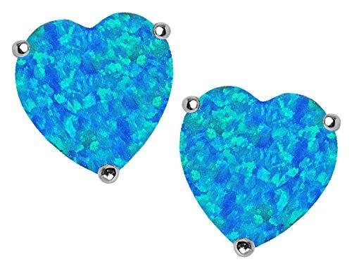 Star K 7mm Heart Shape Blue Created Opal Earrings Studs Sterling Silver (Created Opal Earring Silver Sterling)