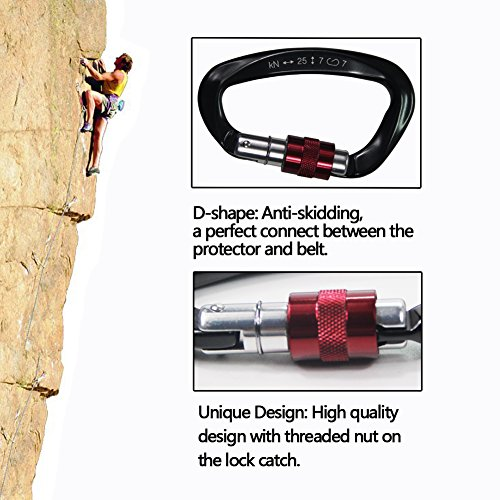 2 Pack Climbing Carabiner(25KN=5600 lb)Super Strength Steel Screw Lock Protection Carabiner Clip For Climbing Hiking Yoga Hammock and Used for Exploring Rappelling