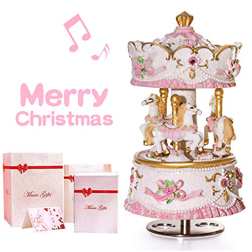 Mrwinder Carousel Music Box Gift, 3-Horse with LED Light Classic Decor | Castle in The Sky | Best Christmas Valentine's Day Birthday Gifts for Wife, Girls, Friends, Kids, Babies ... (Led Light)