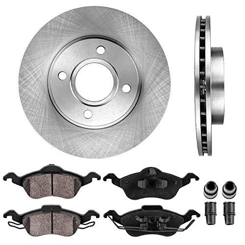 FRONT 258 mm Premium OE 4 Lug [2] Brake Disc Rotors + [4] Ceramic Brake Pads + Clips ()