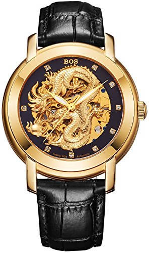 - BOS Men's 'Dragon Collection' Luxury Carved Dial Automatic Mechanical Bracelet Waterproof Gold Watch 9007 (Black)