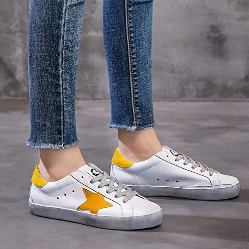 Amarillo Los Señoras De Las Zapatos Patrón Estrellas Planos Vendimia La Xl Cuero nsxiezi 4qxIHI7