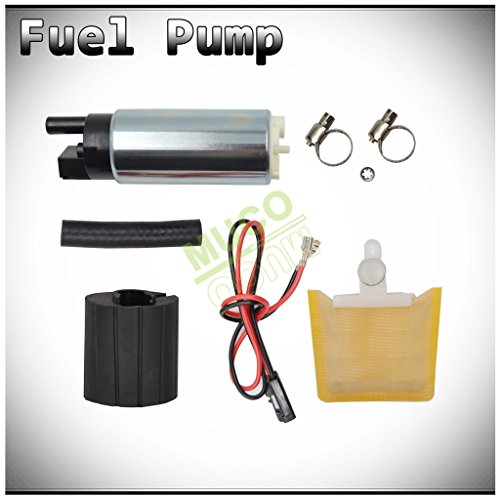 MUCO New 1pc Genuine 255LPH High Flow OE Upgrade Performance Electric Gas Intank EFI Fuel Pump With Strainer/Filter + Rubber Gasket/Hose + Stainless Steel Clamps + Universal Connector Wiring Harness (1998 Jeep Grand Cherokee Fuel Pump)