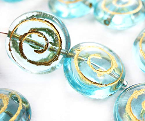 6pcs Crystal Aquamarine Blue Gold Patina Wash Round Shell Seashell Flat Spiral Czech Glass Beads 13mm