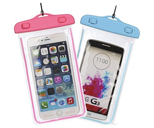 Universal Waterproof Case, Mini-Factory Dry Bag Pouch, Transparent Cover for iPhone 6, Plus, Samsung Galaxy S7 S6 edge, Note, HTC, Nokia - Pink + Blue (2 Packs)
