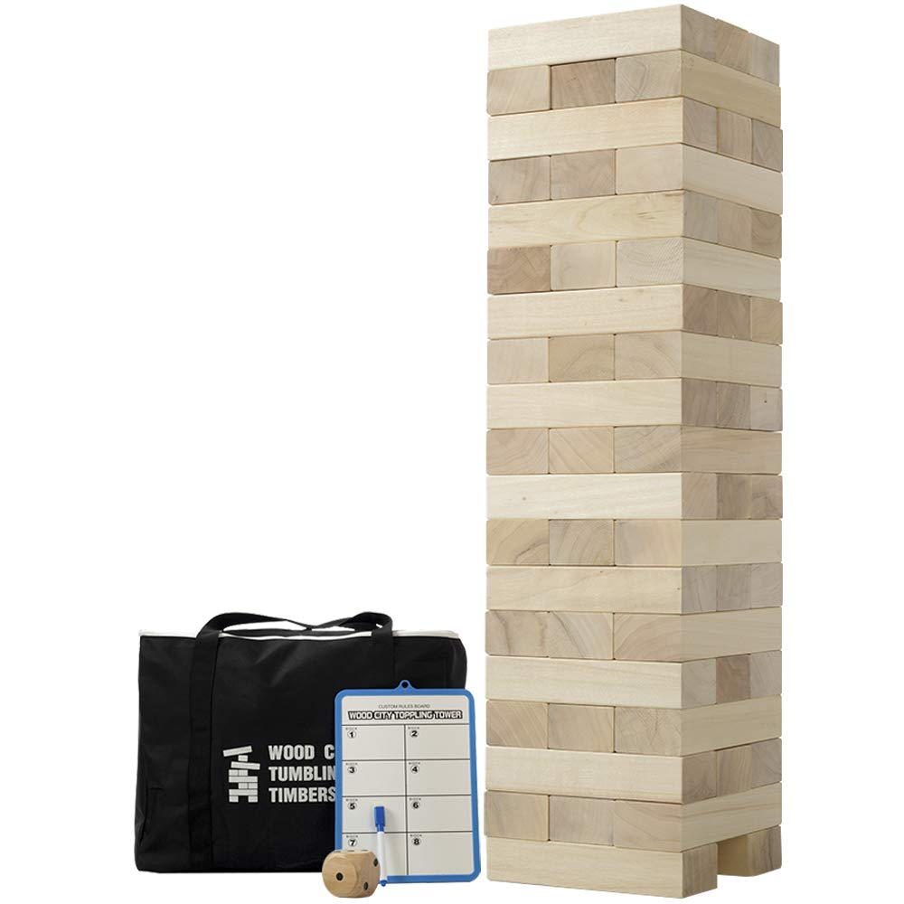 Giant Tumbling Timbers, Gentle Monster Wooden Toppling Tower, Classic Outdoor Games Stacking Toys for Adult Kids Family, Jumbo Hardwood Blocks Lawn Games 56Pcs 5 Feet by Gentle Monster