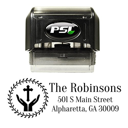 Religious Cross and Hands Custom Personalized Self Inking Return Address Stamp - Great Wedding, Housewarming, Teacher, or Client Gift