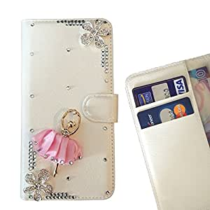 Girl Dance Flower Crystal Diamond Waller Leather Case Cover 3D Bling For Samsung GALAXY S5 Mini /- THE- /