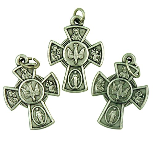 Bulk Lot of 3 Silver Tone 4 Way Cross 1 Inch Pendant with Holy Spirit Dove