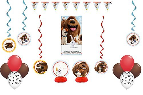 Disney The Secret Life of Pets Party Pack ~ Decoration Kit + 3 More Hanging Decorations, Balloons & (Life Size Grinch)
