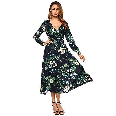 Top Zeagoo Women's Floral Print Button Down Long Sleeve V-Neck Tea Length Midi Dress