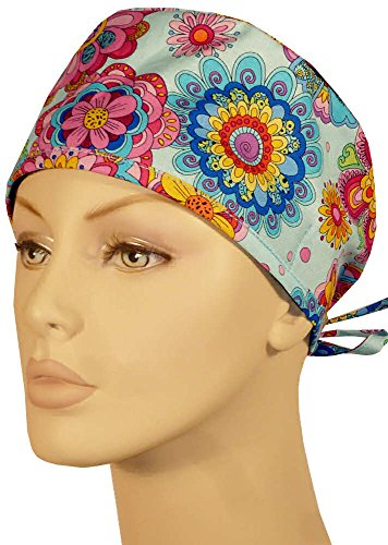 Mens And Womens Medical Scrub Cap - Multi Flowers On Light Blue