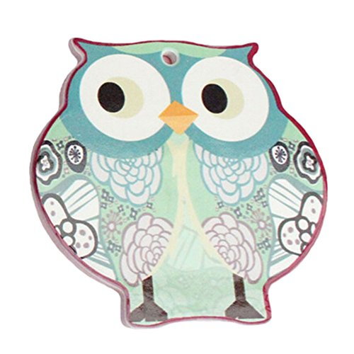 (4 PCS) Lovely Scald-proof Cup Mat Thicken Antiskid Cup Tray Cute Owl Shape Blue
