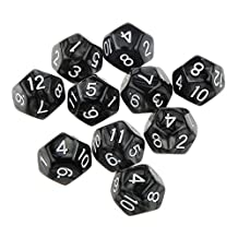 10pcs Twelve Sided Dice D12 Playing D&D RPG Party Games Dices Black