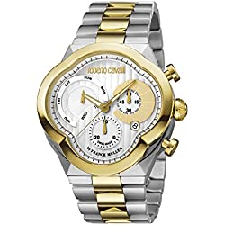 Roberto Cavalli by Franck Muller (PU5E5) Men's 'CLOVER' Quartz Stainless Steel Casual Watch, Color:Two Tone (Model: RV1G028M0106)