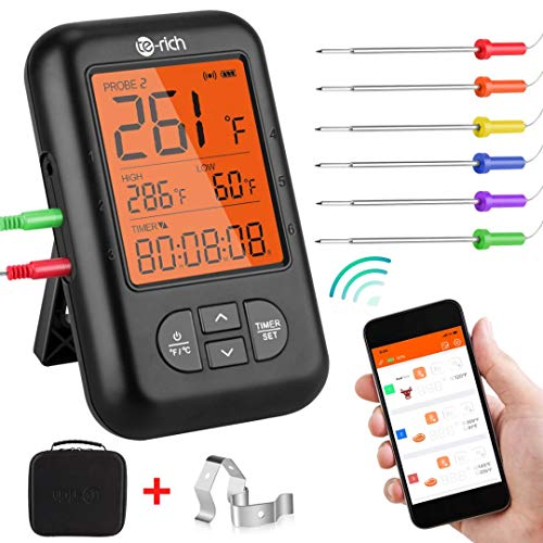 Te-Rich Wireless Meat Thermometer, Bluetooth Digital Food Grill Thermometer [Oven Safe/Timer/App...