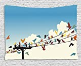 Ambesonne Colorful Tapestry, Animal Theme Silhouettes of Colorful Birds Roosting on Telegraph Wires Pattern, Wall Hanging for Bedroom Living Room Dorm, 80 W X 60 L inches, Multicolor