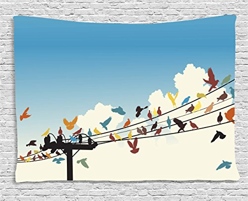 Ambesonne Colorful Tapestry, Animal Theme Silhouettes of Colorful Birds Roosting on Telegraph Wires Pattern, Wall Hanging for Bedroom Living Room Dorm, 80 W X 60 L inches, Multicolor by Ambesonne