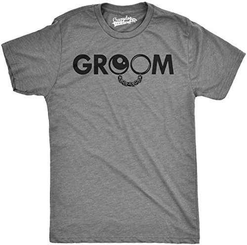 Crazy Dog T-Shirts Mens Groom Ball and Chain Tshirt Funny Wedding Marriage Honeymoon Tee (Grey) (Chains Dog T-shirt)