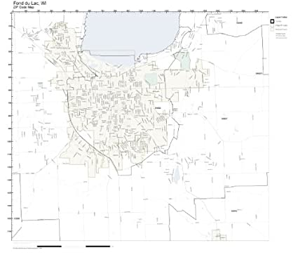 Fond Du Lac Zip Code Map.Amazon Com Zip Code Wall Map Of Fond Du Lac Wi Zip Code Map Not