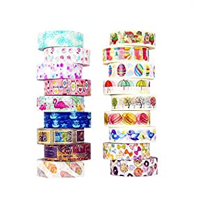 Washi Tape set 18 rolls by Tanpopo Art -Cartoon Collection | Doodle Tapes with Cute Interesting Drawings
