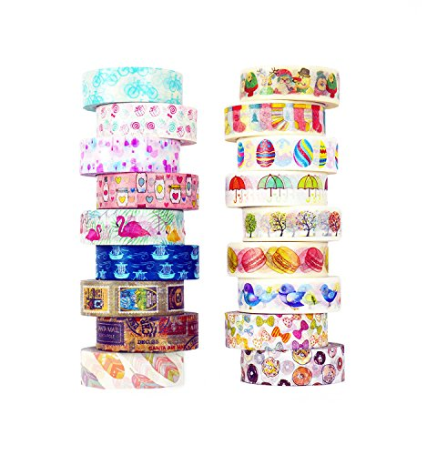 Washi Tape set 18 rolls by Tanpopo Art -Cartoon Collection | Doodle Tapes with Cute Interesting (Bible Accessory Kit)