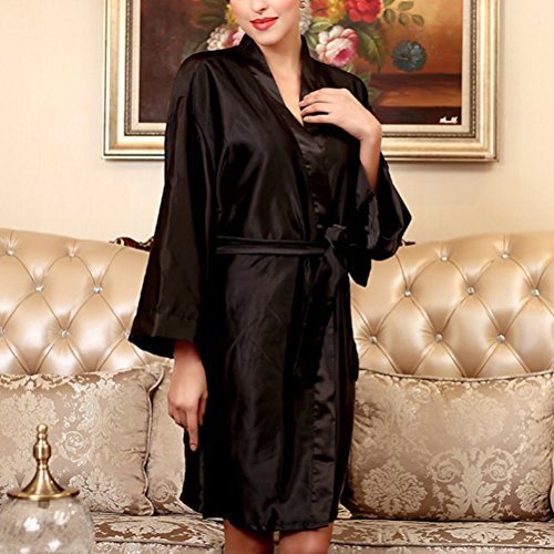 Zhhlaixing Fashion Womens Satin Dressing Gown Robe Kimono Nightwear Sleepwear Bathrobe Black