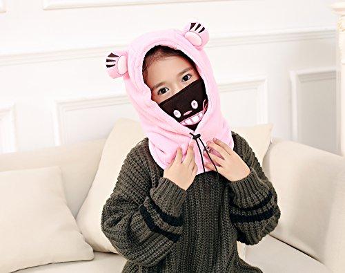 Rose Acvip Oreille Protection Anti Chaud Chapeau Masque Hiver Cache Vent Fille Enfant UwFPURqT