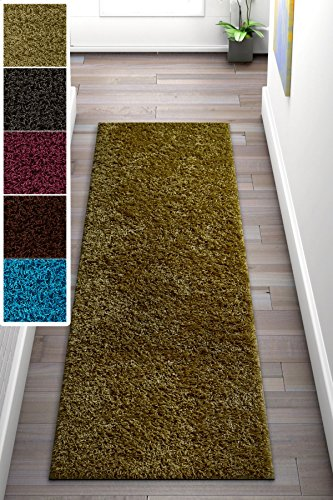 (Well Woven Soft and Fluffy Non-Skid/Slip Rubber Back Antibacterial Shag Rug 2x7 (2' x 7'3 Runner) Solid Color Print Pistachio Green Area Rug Carpet)