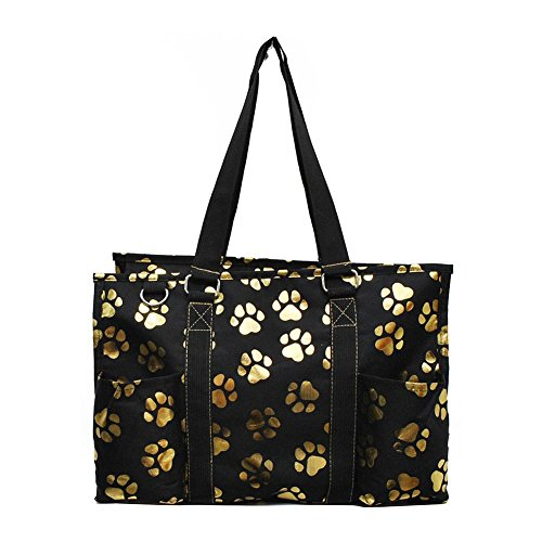 NGIL All Purpose Organizer Medium Utility Tote Bag 2018 Spring Collection (Gold Puppy Paw Black)