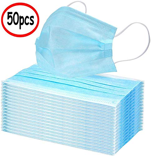Qoco 50pcs Disposable 3-layer Masks, Anti Dust Breathable Disposable Earloop Mouth Face Mask, Comfortable Masks Blue, 1count