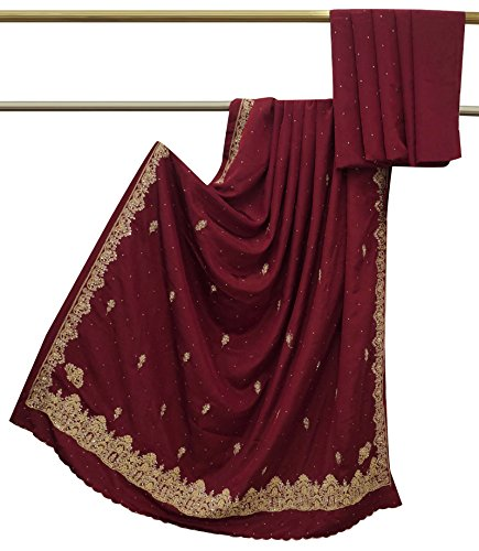 [Vintage Indian Saree Art Silk Hand Beaded Fabric Maroon Craft Used Sari Deco] (Bollywood Party Decorations)