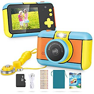 Magicfun Kids Camera 24MP Kid Digital Camera Gifts for Age 3 4 5 6 7 8 9 10 Years Old Boys Girls, 1080P 2.4'' Large LCD Blue Screen Video Camcorder, USB Rechargeable Selfie Camera with 32GB SD Card