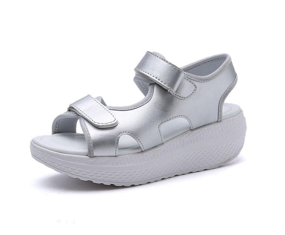 RuiOffene Sandalen Frauen Wort Schnalle Hang mit schweren Boden Schuhe Student Strandschuh Wild  3  US6   EU36   UK4   CN36