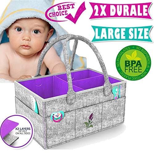 Baby Diaper Caddy Organizer Baby Shower Gift Basket Cute Shower Caddy Baby Car Organizer Boy Girl Diaper Storage Bin for Changing Table Newborn Registry Must Haves Portable (Large Size) (Grey) ()