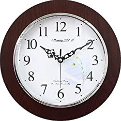 Decorative Analog Wall Clock Silent Battery Operated Modern Quartz Round Wall Clock Simple for Home, Office, Bedroom, 10, Lily, White, Dark Brown Frame