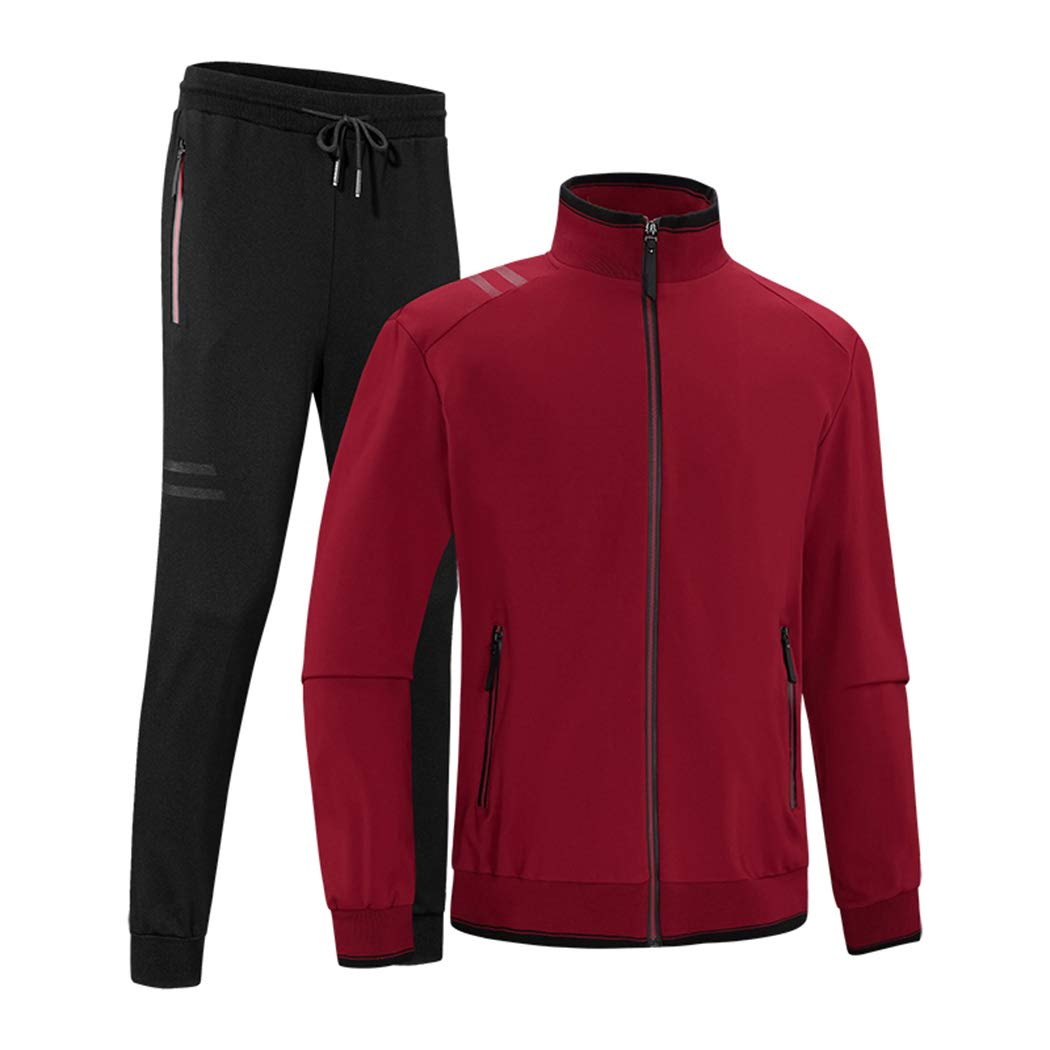 Sun Lorence Men's Gym Running Zip Up Tracksuit Casual Jogger Sweatsuit for Big & Tall Red XS