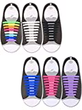 Hestya 6 Pairs No Tie Shoelaces for Kids and Adults, Waterproof Silicone Flat Elastic Athletic Sport Shoe Laces for Sneakers Board Shoes (White, Black, Purple, Pink, Blue, Multicolor)