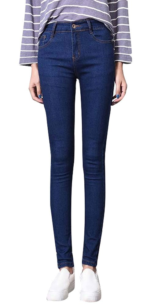 Plaid&Plain Girls Skinny Slim Fit Straight Leg Stretch Denim Jeans with Pocket 13-Jeans-G130883