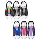 Hestya 6 Pairs No Tie Shoelaces Silicone Elastic Athletic Sport Shoe Lace (Black, White, Purple, Pink, Blue, Multi-color) (Color: Black, White, Purple, Pink, Blue, Multi-color, Tamaño: Medium)
