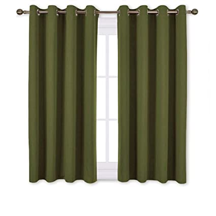 NICETOWN 45 inches Bedroom Curtains Panels - Functional Blackout  Curtains/Panels for Christmas Bedroom, Thermal Insulated, Privacy Assured  (2 Pieces, ...