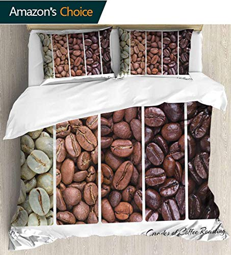 shirlyhome Coffee Home 3 Piece Print Quilt Set,Vertical Banner Stages of Beans from Raw to Roasted Java Processing Addictive with 2 Pillowcase for Kids Bedding 87